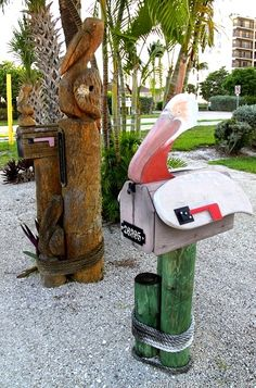 Florida mail boxes are so fun. Pelican mailboxes in Fort Myers. And many more, featured on CC: http://www.completely-coastal.com/2014/07/coastal-nautical-unique-mailboxes-mailbox-art.html