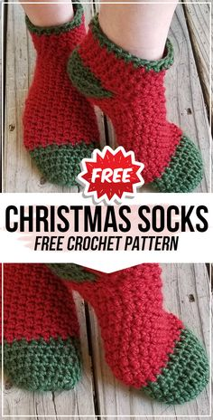 crochet Holly Jolly Christmas Socks free pattern - easy crochet socks pattern for beginners