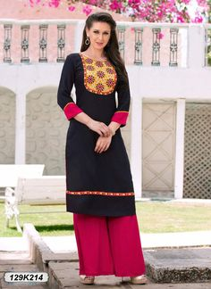 Buy Vibrant Black Colored Rayon Kurti Get 30% Off on Designer Kurtis From Leemboodi Fashion with Free Shipping in INDIA Now Available on Cash On Delivery