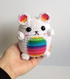 Rainbow Polar Bear Plushie - Kawaii Amigurumi Rainbow Teddy Bear - Cute Crochet Bear