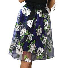 0d1ce68ed52 YSJ Lady s Organza Midi Skirt Bowknot Pleated Knee Length Princess Skirts  (Purple) YSJ http
