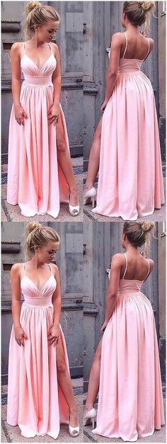 Sleeveless Straps Floor-Length Prom Dress,Simple Prom Dress,Pink Prom