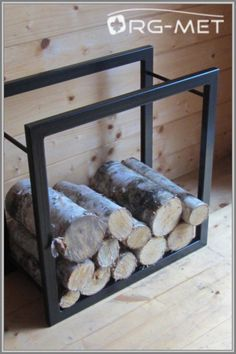 Metalowy kosz stojak na drewno kominkowe PROSTY M