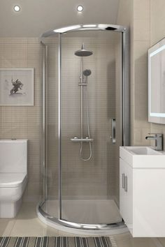 Planning an update to your ensuite bathroom? This small master bathroom showcases a stylish way of incorporating a corner shower enclosure bathroom v Beige Bathroom, Ensuite Bathrooms, Modern Bathroom, Master Bathroom, Bathroom Ideas, Bathroom Vanities, Mirror Bathroom, Bathroom Storage, Bathroom Showers