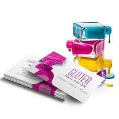 Glitter Nail Salon Manicure - Pink Beauty Stylish Business Card Template