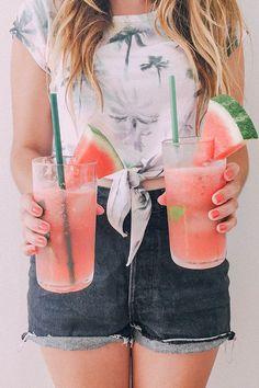 how to make watermelon mojitos / summer cocktail recipe / iffoundmake.com