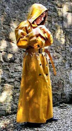 Yellow pvc trenchcoat