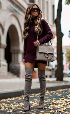 Winter Fashion Outfits, Fall Winter Outfits, Look Fashion, Autumn Winter Fashion, 2000s Fashion, Burgundy Sweater Dress, Sweater Dress Outfit, Red Jumper, Classy Outfits