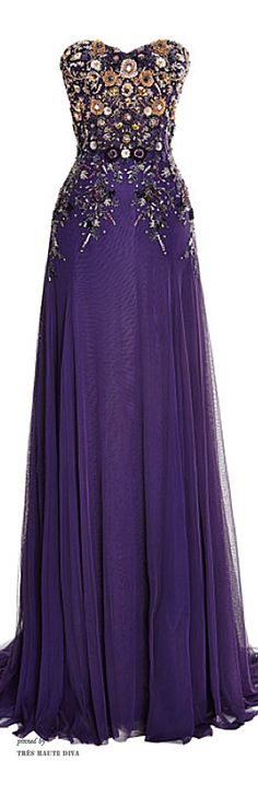 Marchesa Violet Perfume Tulle Gown with Embroidered Bodice ♔ Resort 2015