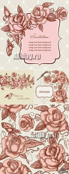 Vintage Invitations with Roses Vector 2