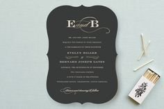 """Dashing"" - Formal, Classical Wedding Invitations in Charcoal by Sara Hicks…"