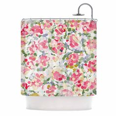 """Matthias Hennig """"Soft Dots"""" Pink Floral Shower Curtain"""