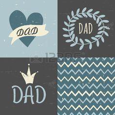 Un conjunto de tres tarjetas de felicitación y un patrón sin costuras a juego para el Día del Padre s en azul pastel blanco Stock Vector