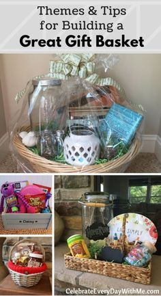 Lots of tips for making a gift basket and tons of theme ideas! (diy christmas baskets for couples) Homemade Gift Baskets, Diy Gift Baskets, Christmas Gift Baskets, Diy Christmas Gifts, Homemade Gifts, Basket Gift, Summer Gift Baskets, Creative Gift Baskets, Wedding Gift Baskets
