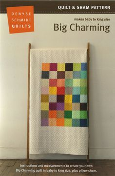 "Big Charming from Denyse Schmidt Quilts: Denyse Schmidt's Big Charming updates the traditional ""charm"" quilt in a stunning, minimalist quilt that evokes modern-day pixels in the context of old-time handcrafts. For sizes 60 x 60 (65 x 88, 86 x 93, 103 x 93) inches, you will need 49 (64, 64, 64) 5-inch squares for the quilt top; 3 (4.75, 5.5, 6.5) yards for the background and binding and 3.25 (5. 5, 6.5, 7.5) yards for the back. To make yours like Denyse's, pick up a gorgeous DS Modern Solid ..."