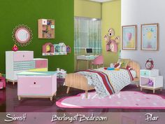 Children's bedroom with candy colors Found in TSR Category 'Sims 4 Kids Bedroom Sets'