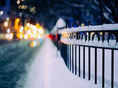 Fence Winter City Night HD Wallpaper