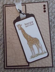 Finally cracked open my Stampin' Up Zoo Review stamp set, with scallop top tag punch and world map stamp
