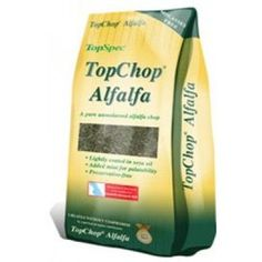 TopSpec Chop Alfalfa 15kg TopChop Alfalfa is a high temperature dried British Alfalfa mix with added real mint to help improve palatability provide extra digestive benefits