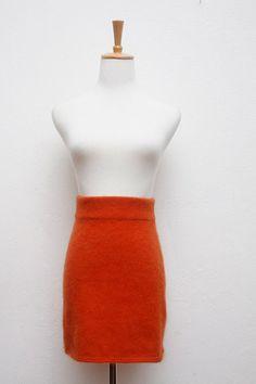 Fluffy Orange Knit Mini Skirt by marigold25 on Etsy