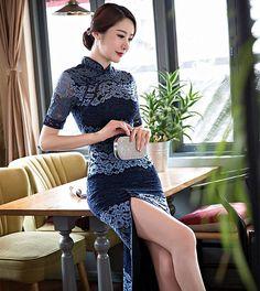 Classic Ladies Lace Long Cheongsam Hot Sale Traditional Chinese Style Qipao Dress Vestido Clothing Size S M L XL XXL XXXL 368592