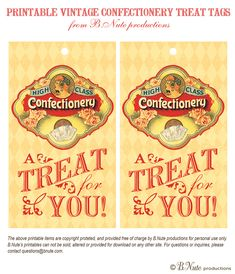 free vintage candy label printables   bnute productions: Free Printable Vintage Style Confectionery Treat ...