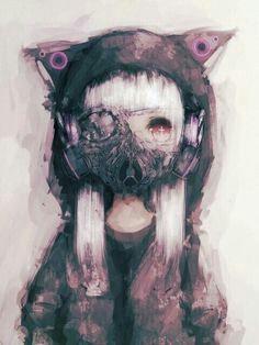 anime and manga image Anime Girl Neko, Chica Anime Manga, Sad Anime, Kawaii Anime, Art Manga, Anime Art, Anime Gas Mask, Anime Negra, Girls Manga