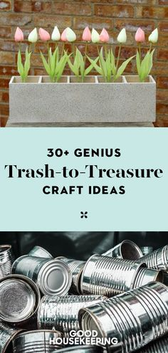 38 Genius Trash-to-Treasure Crafts That Will Save You So Much Money File these genius ideas away for the ultimate crafting experience. Tin Can Crafts, Crafts To Make, Home Crafts, Easy Crafts, Crafts For Kids, Decor Crafts, Diy Crafts Hacks, Design Crafts, Paper Crafts