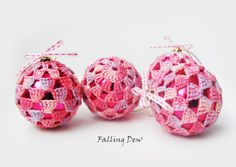 Christmas Tree Oranments, Christmas Tree Decorations Crocheted Baubles Set of 4, Pink, light pink, Clour Plain by FallingDew on Etsy