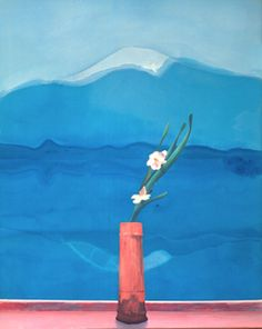 David Hockney, Mount Fuji and Flowers, 1972. Acrylic on canvas. The Metropolitan Museum of Art - The collection on line http://www.hockneypictures.com/works_paintings_70_07.php
