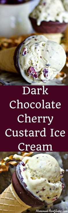 Dark Chocolate Cherry Custard Ice Cream is about my favorite homemade ice cream ever! Rich and creamy!