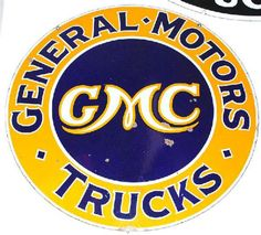 Round sign for GMC or General Motors Company's Trucks.