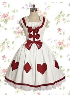 Alice & wonderland!   Delightful White And Red Cotton Poker Sweet Lolita Dress