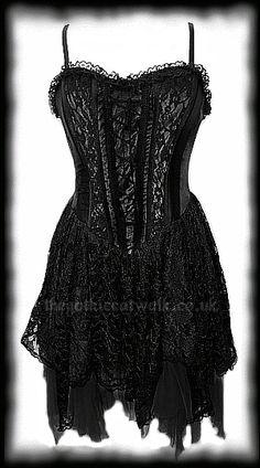 Black Velvet & Lace Gothic Corset Dress