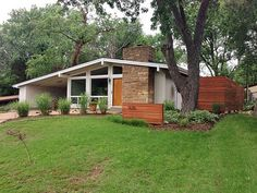 Mid Century Modern Ranch Renovation. Current owners re-installed the clerestory windows that were removed by a previous owner. Also brought the line of the eaves out around the chimney. Well done!