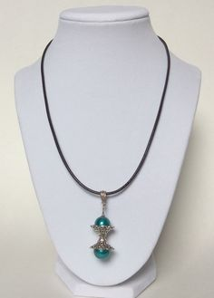 Teal Pearl Hourglass Shaped Pendent with Leather Cord, Hourglass Necklace, Pearl & Leather Necklace, Handmade, Modern, Everyday, Pretty by CreationsByLacieK on Etsy