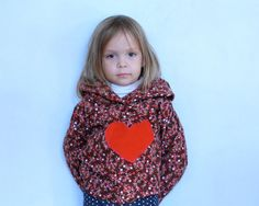 SALE  Brown Corduroy Hoodie Flower and Heart size by MyLittleAura