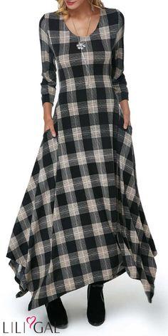 Asymmetric Hem Pocket Plaid Print Maxi Dress Vestido Maxi com estampa xadrez e bolso assimétrico na bainha Women's Dresses, Cute Dresses, Casual Dresses, Fashion Dresses, Awesome Dresses, Short Beach Dresses, Club Party Dresses, Maxi Robes, Maxi Dress With Sleeves