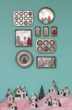 Christmas kitchen baking pan gallery wall and Christmas village