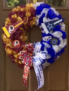 Divided by the gridiron, united in love! Can be customized for any 2 sports teams you choose. This 23 inch Deco Mesh Wreath with Handmade Bow and Embellishments represents my hometown team the Washington Redskins and our arch rivals the Dallas Cowboys. Visit my Facebook page, www.facebook.com/theoccasionalwreath for details or contact me via email at theoccasionalwreath.kim@gmail.com to place your custom order.
