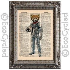 Red Panda Astronaut on Vintage Upcycled Page by EcoCycled on Etsy, $10.00