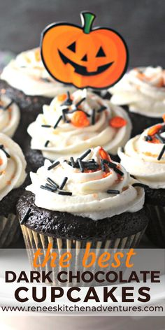 The BEST Dark Chocolate Cupcakes by Renees Kitchen Adventures. Intensly dark chocolate cupcakes made with cocoa and coffee for a strong chocolate flavor with moist crumb. Perfect for Halloween. #RKarecipes #chocolate #homemadechocolatecupcakes #chocolatecupcakerecipe Easy Halloween Food, Halloween Desserts, Halloween Cupcakes, Spooky Halloween, Halloween Treats, Halloween Party, Creative Desserts, Easy Desserts, Delicious Desserts