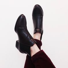 Zara Chelsea boots Fun burgundy and black Chelsea boots with a low stacked heel. Slip on & in great condition. Zara Shoes Ankle Boots & Booties
