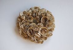 book pages, rose wreath