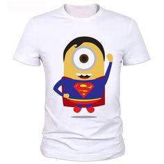 Minions man's personality T-shirt T-shirt Men Despicable Me superman minions T shirts New Fashion Cartoon Superhero t shirt 27#