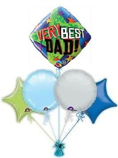 "Send balloons by post to mark Dad's special day by sending him ""Number 1 Dad"" helium balloons. These balloons by post are great for birthday's or fathers day. Balloons in a box by post for his special day. Send Dad balloons from the Balloon Kings Baby Boy Balloons, Send Balloons, Helium Balloons, Birthday Balloons, Birthday Fun, Balloon Gift, The Balloon, Gift Bouquet, Balloon Delivery"