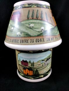 Carson Home Accent Jar Candle Holder & Shade Pat Fischer Sheep Colonial Houses #Carson #Farmhouse