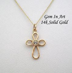 An elegant, dainty 14k solid gold cross necklace, is a beautiful addition to your everyday look. Also, it can be perfect for an evening outfit. It is discreet and at the same time glamorous. It can be personalized by choosing your birthstone. A jewel that is minimal and all time classic. It's a perfect gift for women who like to be distinctive with exceptional elegance and good taste in jewelry. The size of the cross is 22mm by 12mm…