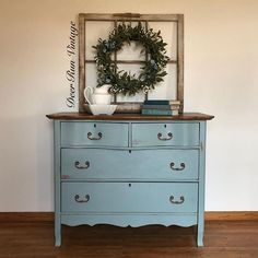 The Deer Run Vintage Compang @deerrunvintage based in Iowa, refurbish furniture for fun, and they use Chalk Paint® by Annie Sloan! This piece was painted in Chalk Paint® in Duck Egg Blue and sanded back to the original wood, for a distressed look. A piece like this adds a great flash of colour into any room. #ChalkPaint #AnnieSloan