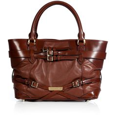 BURBERRY LONDON Dark Tan Lamb Leather Lynher Tote ($1,470) ❤ liked on Polyvore